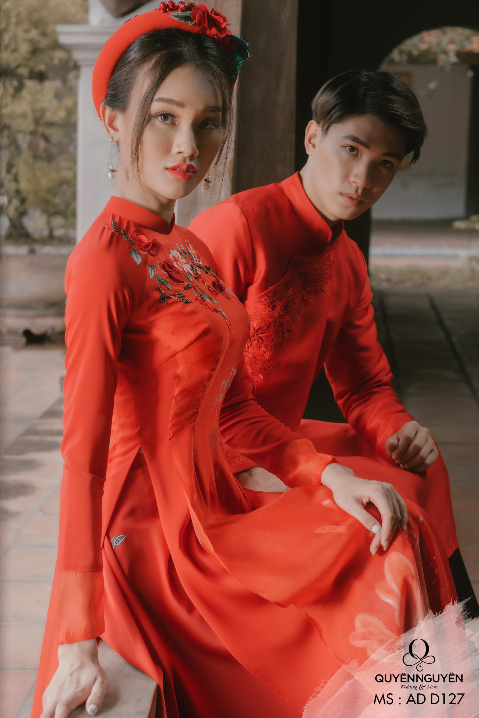 áo dài cưới đỏ trơn