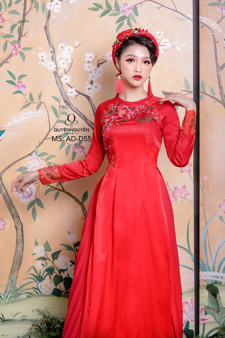 áo dài đỏ thuê hoa