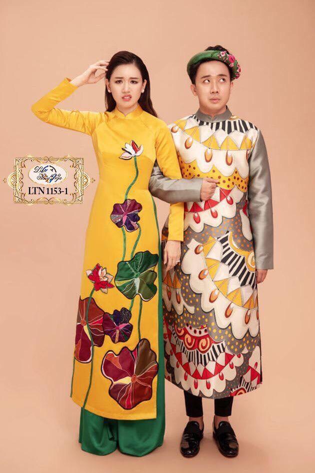 áo dài hoa sen cô dâu