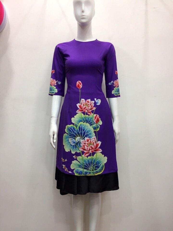 Áo dài hoa sen tím